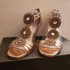 Vince Camuto rose gold wedged heel sandals